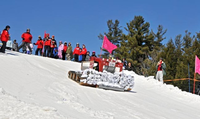"Cardboard Box Derby, a custom made ""groomer"" at King Pine Ski Resort.©King Pine Ski Resort"
